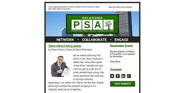 Oklahoma Professional Sales Association Email Newsletter