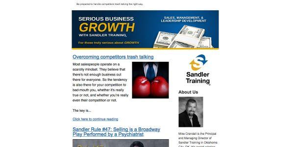 Sandler Training of Oklahoma Email Newsletter
