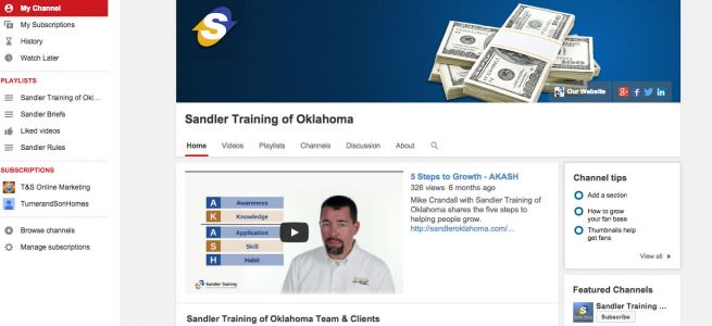 Sandler Training of Oklahoma YouTube