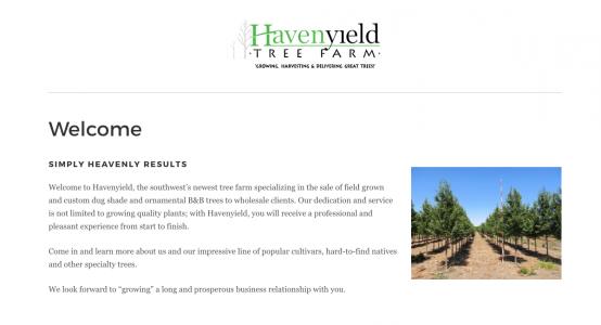 Havenyield Tree Farm Starter Website