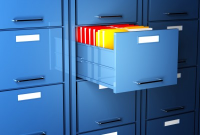 File folders in a drawer
