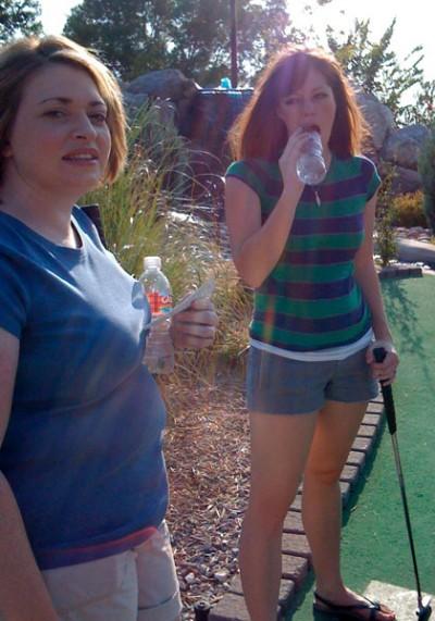 Leann and Hanna golfing