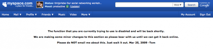 MySpace error screenshot