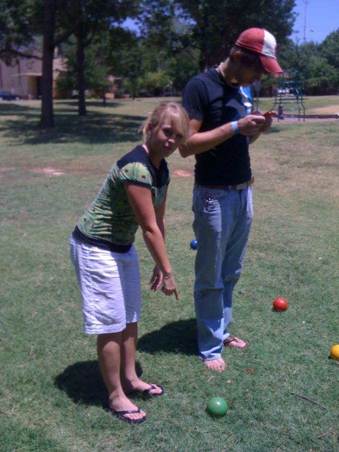 Fun Friday - Emily and Dave play Bocce Ball