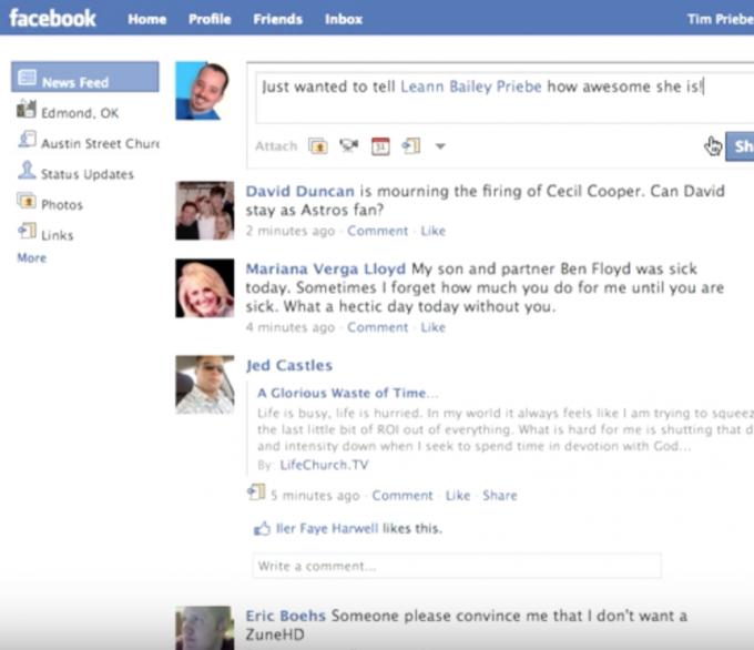 Facebook linking to people screenshot