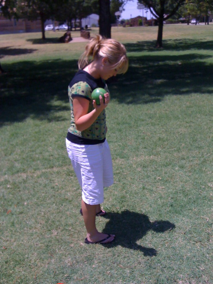 Emily playing Bocce Ball in 2009