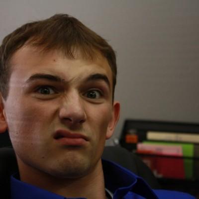 Adam looking disgruntled