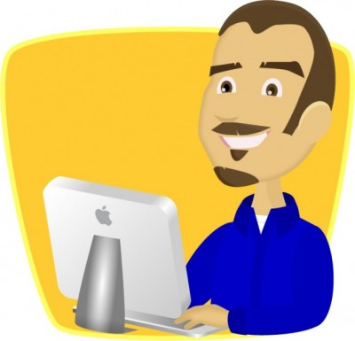 Tim Priebe at computer