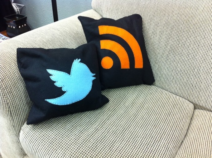 Twitter and Blog RSS pillows