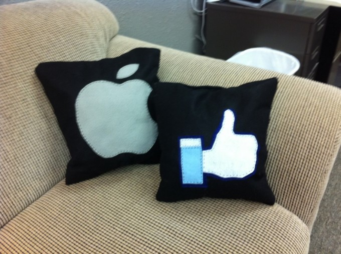 Apple and Facebook pillows