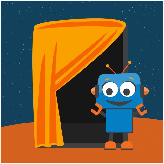 Pixel robot beside voting booth