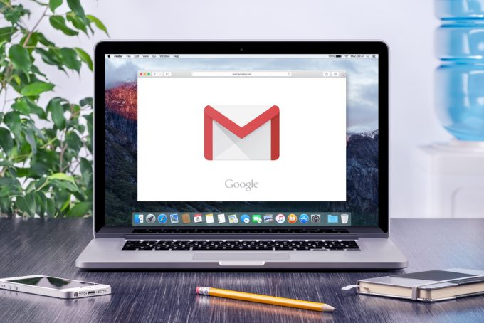 Google Gmail logo on the Apple MacBook Pro display that is on of