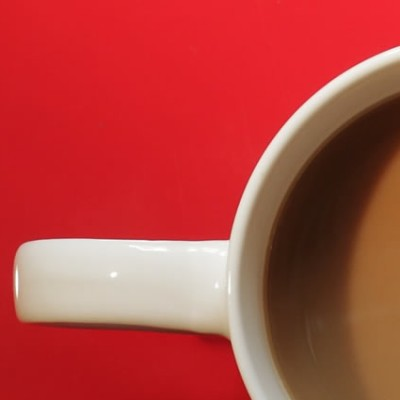 Coffee on Red Background