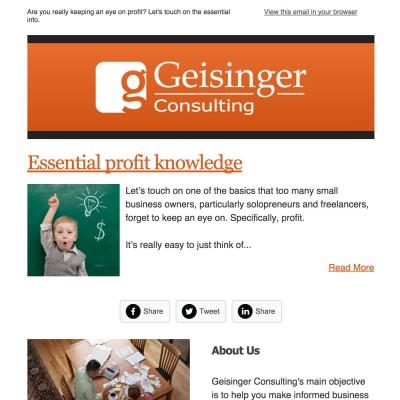 Geisinger Consulting  Newsletter