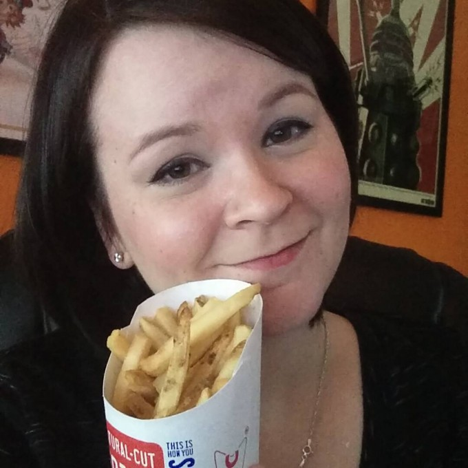 Holly eating fries