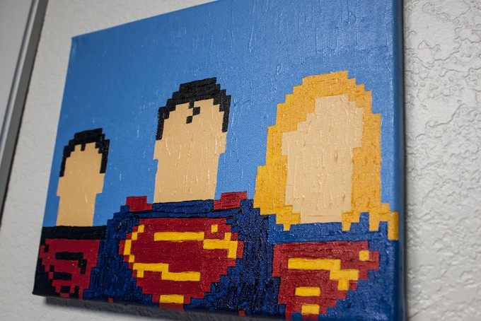Superman, Superwoman, and Superboy Painting