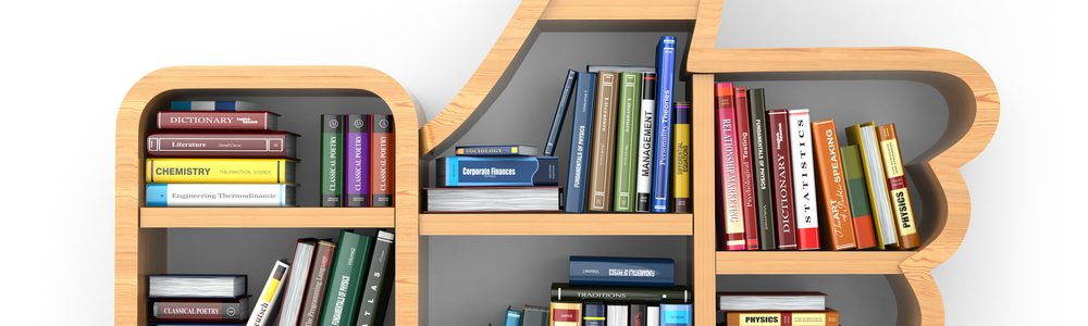 Books On Thumbs Up Bookshelf 1000x300