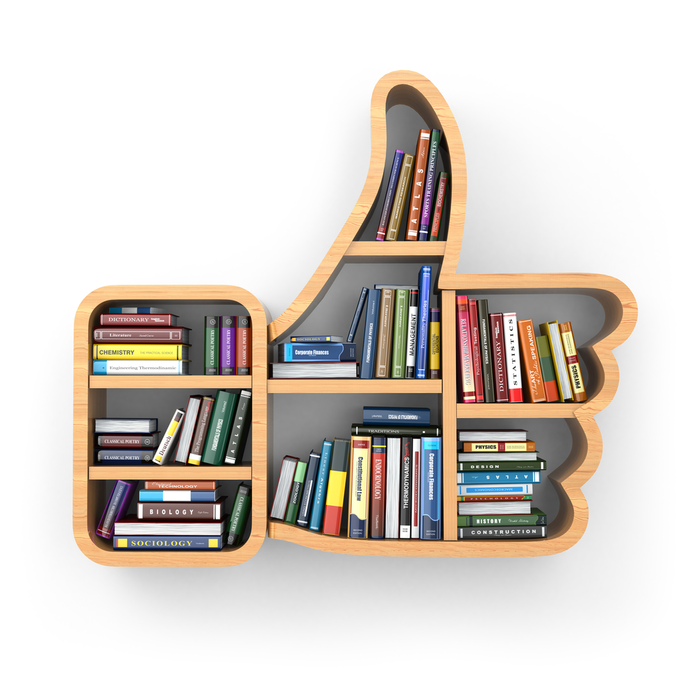 Books On Thumbs Up Bookshelf